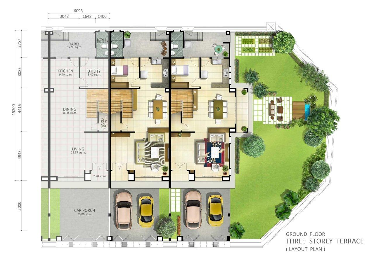 Botanica 5 – Single Storey Terrace House Floor Plan